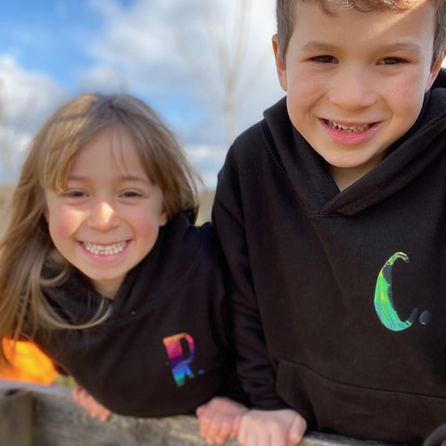 Kids - Black Hoodie with personalised initial