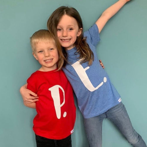Kids - Organic T-shirt with WHITE personalised initial/number