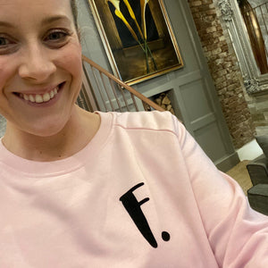 Womens - Personalised Initial Organic sweater - Pink
