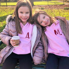 Load image into Gallery viewer, Kids - Pink Hoodie with personalised initial