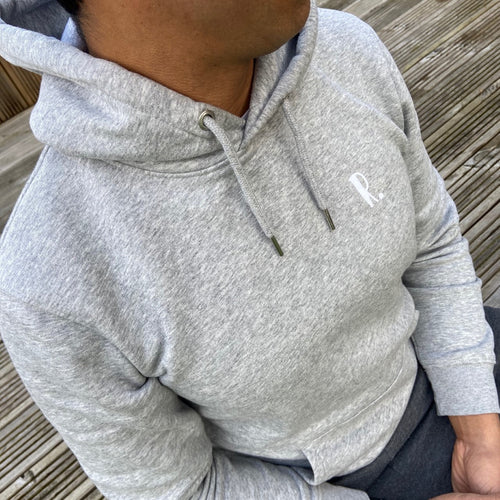 Mens - Organic hoodie with small personalised initial