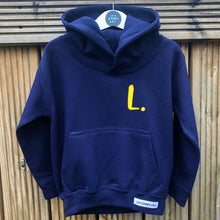 Load image into Gallery viewer, Kids - Navy Hoodie with personalised initial