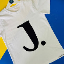 Load image into Gallery viewer, Kids - WHITE Organic T-shirt with personalised initial/number - Choose your finish
