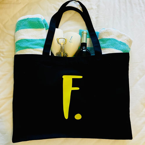 Recycled large tote with personalised initial & 'Just... my stuff'