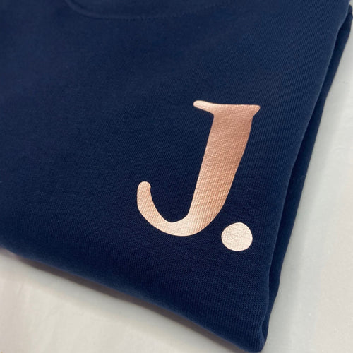 Womens - Personalised Initial Organic sweater - NAVY