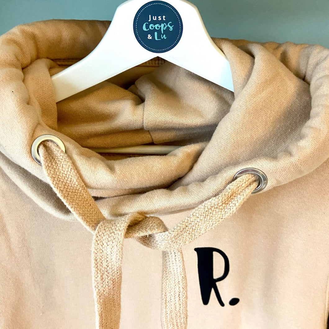 The ultimate BISCUIT hoodie with personalised initial. Unisex