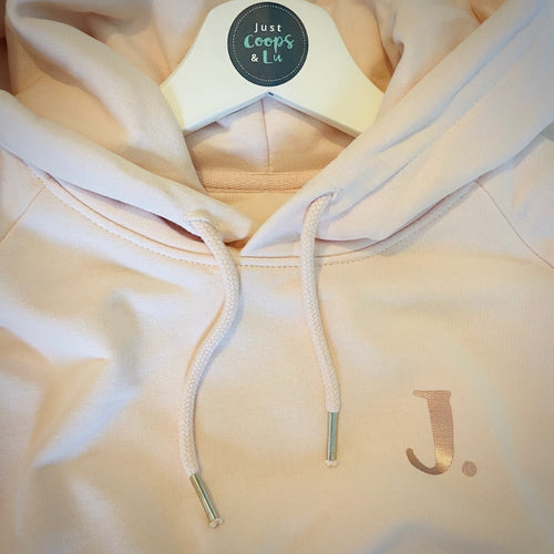 Womens - Organic hoodie PINK with small personalised initial