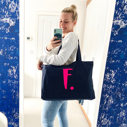 Recycled XL tote with personalised initial & 'Just... my stuff'