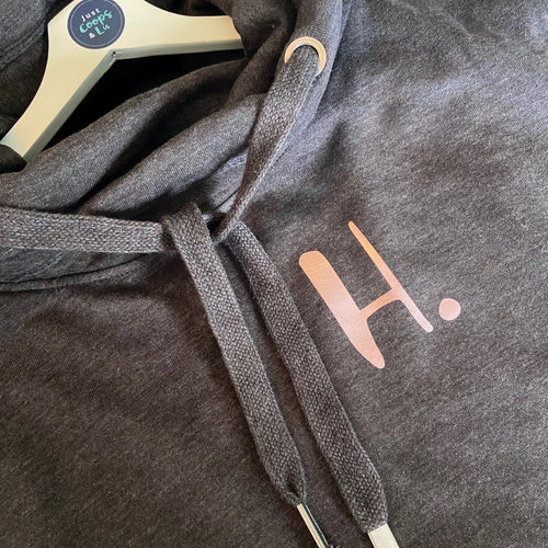 The ultimate CHARCOAL hoodie with personalised initial. Unisex