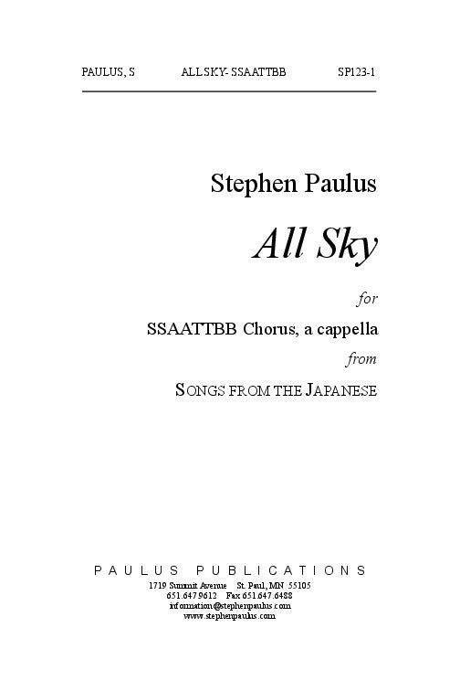 All Sky (SONGS FROM THE JAPANESE) – Stephen Paulus Music