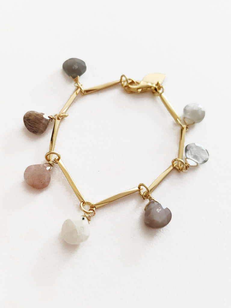 Teardrop moonstone and sensu Gold  bracelet