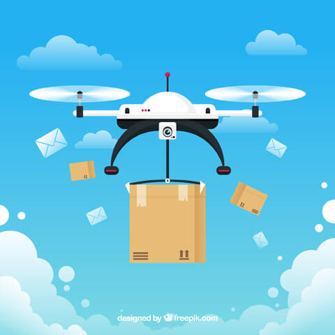White drone delivering a package