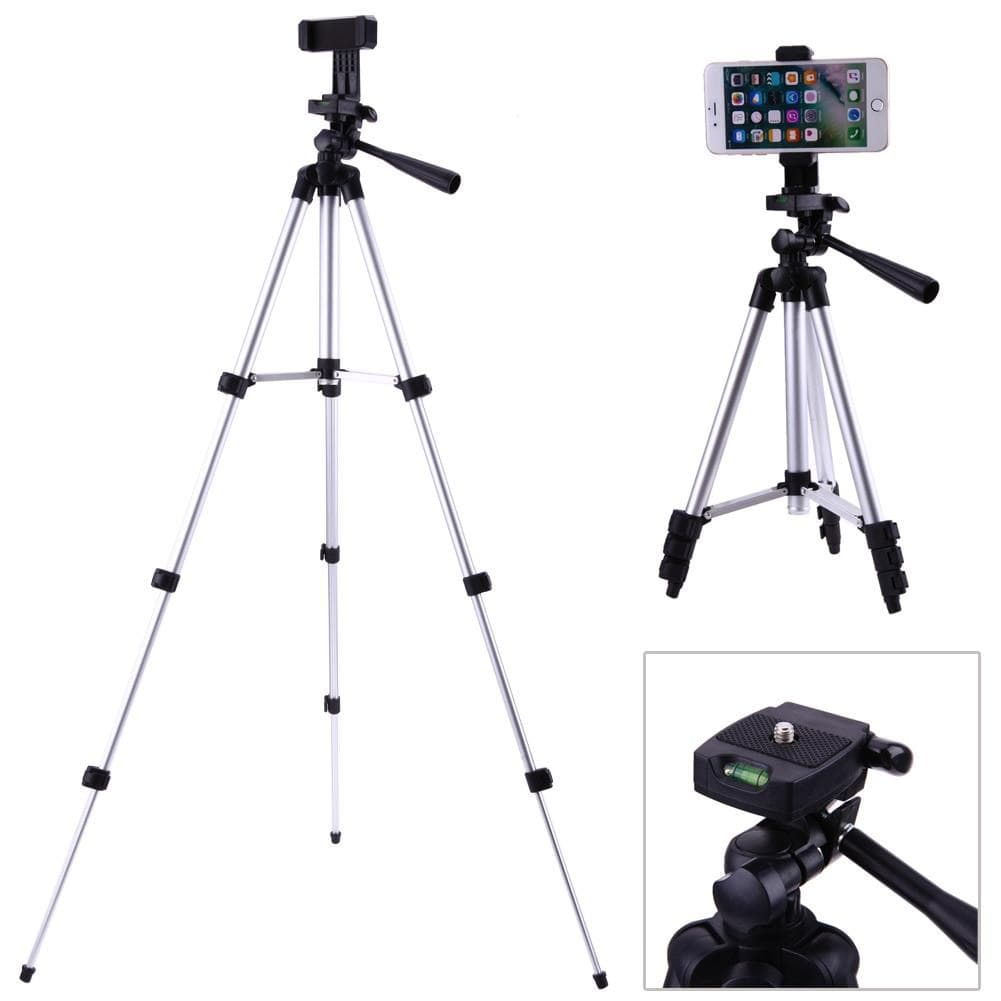 "Professional Foldable Camera Tripod Holder Stand 1/4"" Screw 360 Degree Fluid Head Tripod Stabilizer Aluminum with Phone Holder - Treasure Kleny"