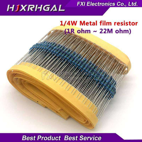 100pcs 1/4W 1R~22M 1% Metal film resistor,Electronic Components & Supplies,Uunoshopping