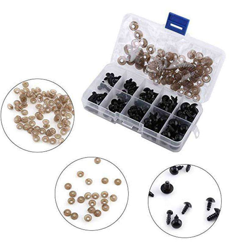 100pcs 6-12mm Black Plastic Crafts Safety Eyes,Arts,Uunoshopping