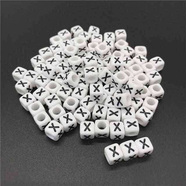 100pcs 6mm Letter Beads Square 26 Alphabet Beads,Jewelry Accessorie,Uunoshopping