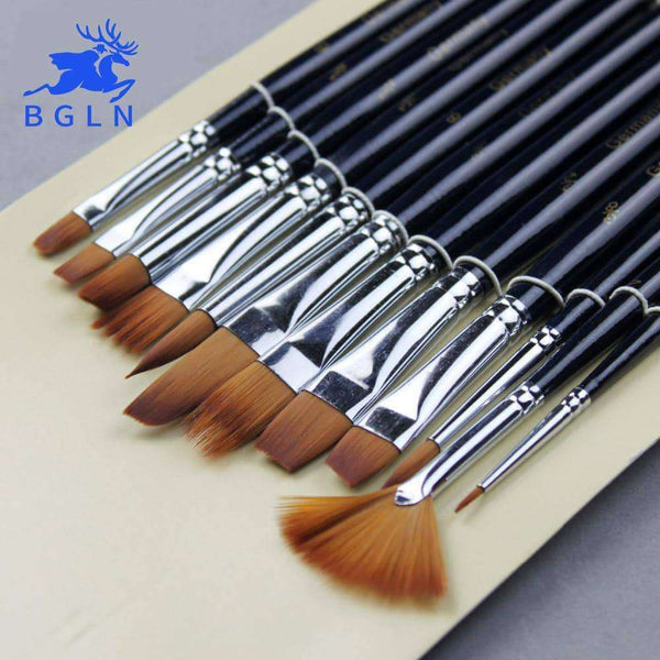 12Pcs Watercolor Paint Brushes Set,Arts,Uunoshopping