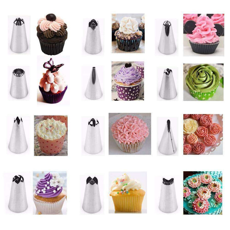 14pc/set Dessert Decorators Silicone Icing Piping Cream Pastry Bag,Home,Uunoshopping