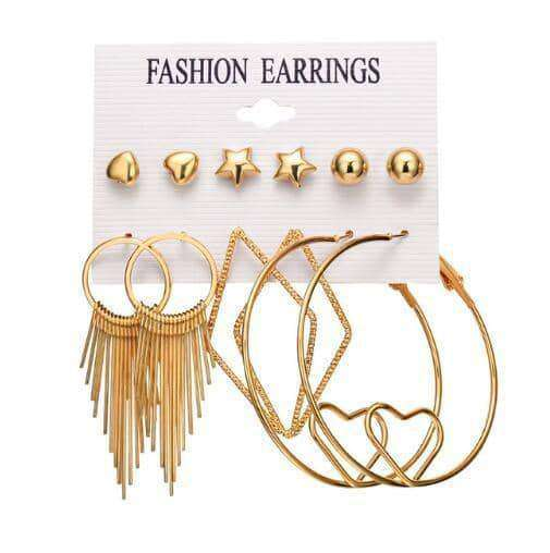 New Shell Tassel Stud Earrings Set,Earrings,Uunoshopping