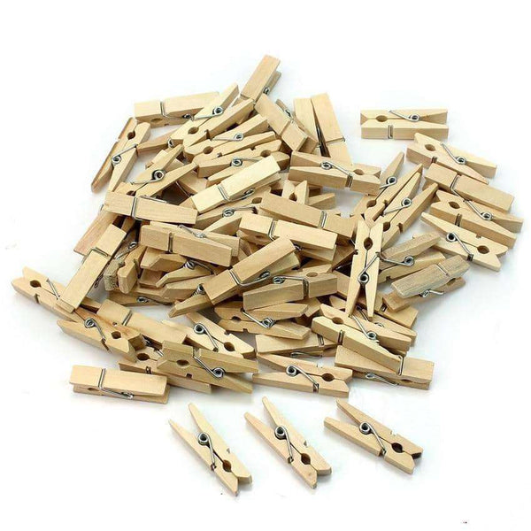 50 PCS 25mm Mini Natural Wooden Clips,Office,Uunoshopping