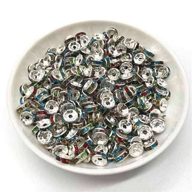 50pcs 6MM Metal Silver Plated Crystal Rhinestone,Jewelry Accessorie,Uunoshopping