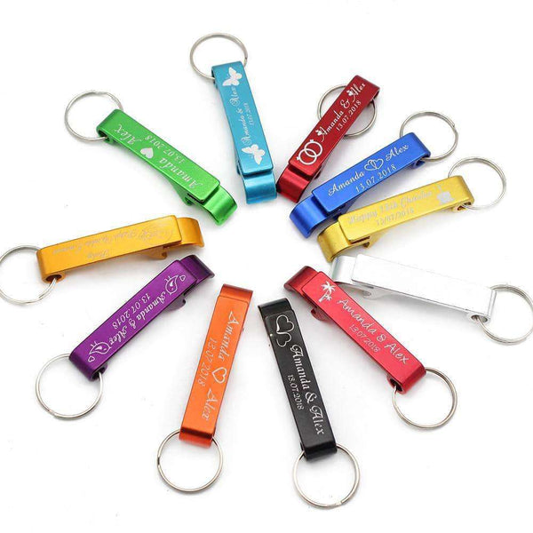 50pcs Personalized Engraved Bottle Openers Key Chain Logo Private Customized,Other promotional products,Uunoshopping