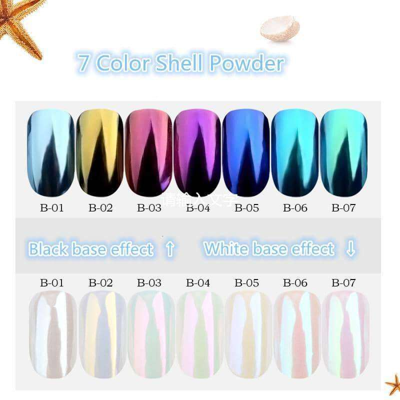7pcs/lot Pearl Shell Nail Powder Glitters,nails tools,Uunoshopping