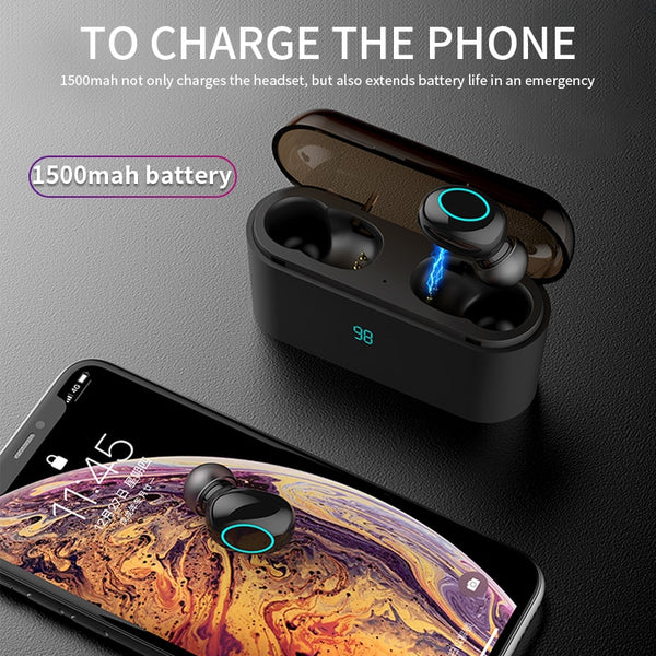 Touch Bluetooth V5.0 Earphone 1500mAh As Power Bank,earphone,Uunoshopping