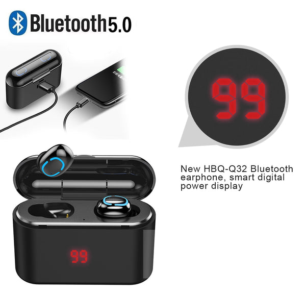 Bluetooth 5.0 Earphone With Charging case 1500 mAh,earphone,Uunoshopping