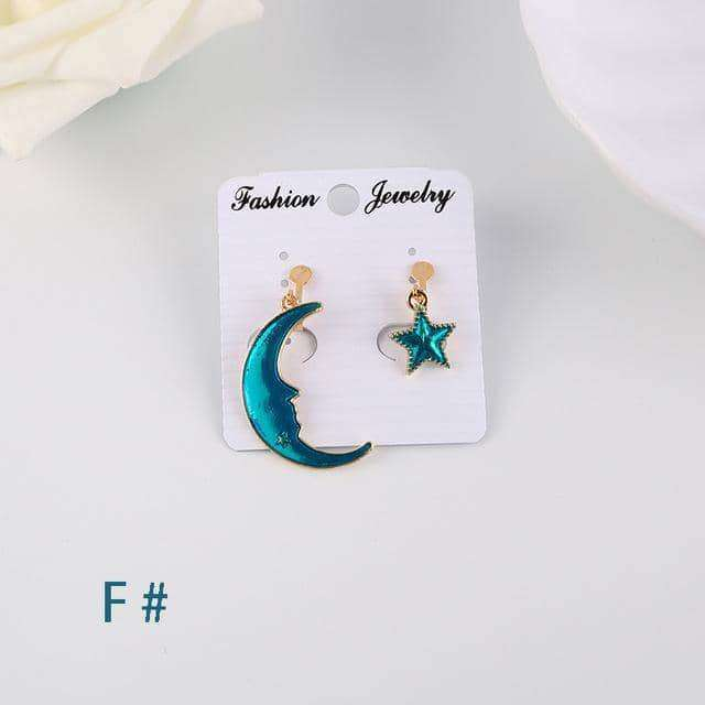Blue Star Moon Planet  Circle Clip on Earrings,Earrings,Uunoshopping