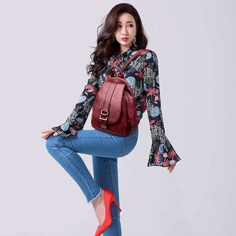 Leather Backpacks Vintage Female Shoulder Bag Sac a Dos Travel Ladies Bagpack,Belts & Bags,Uunoshopping