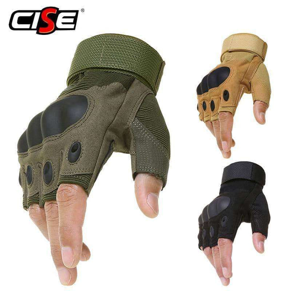 Motorcycle Hard Knuckle Fingerless Gloves,Gloves & Ties,Uunoshopping