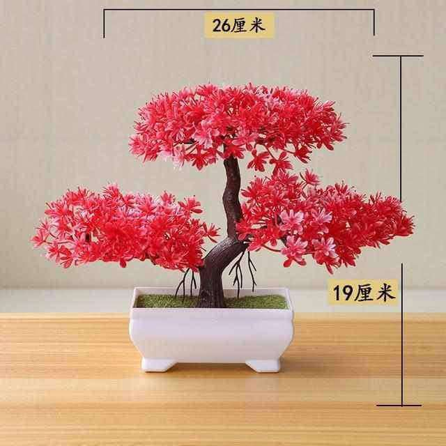 Bonsai Small Tree Pot Plants Fake Flowers Potted Ornaments,Home,Uunoshopping