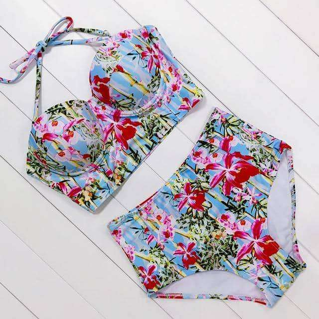 Print High Waist Swimsuit,swimwear,Uunoshopping