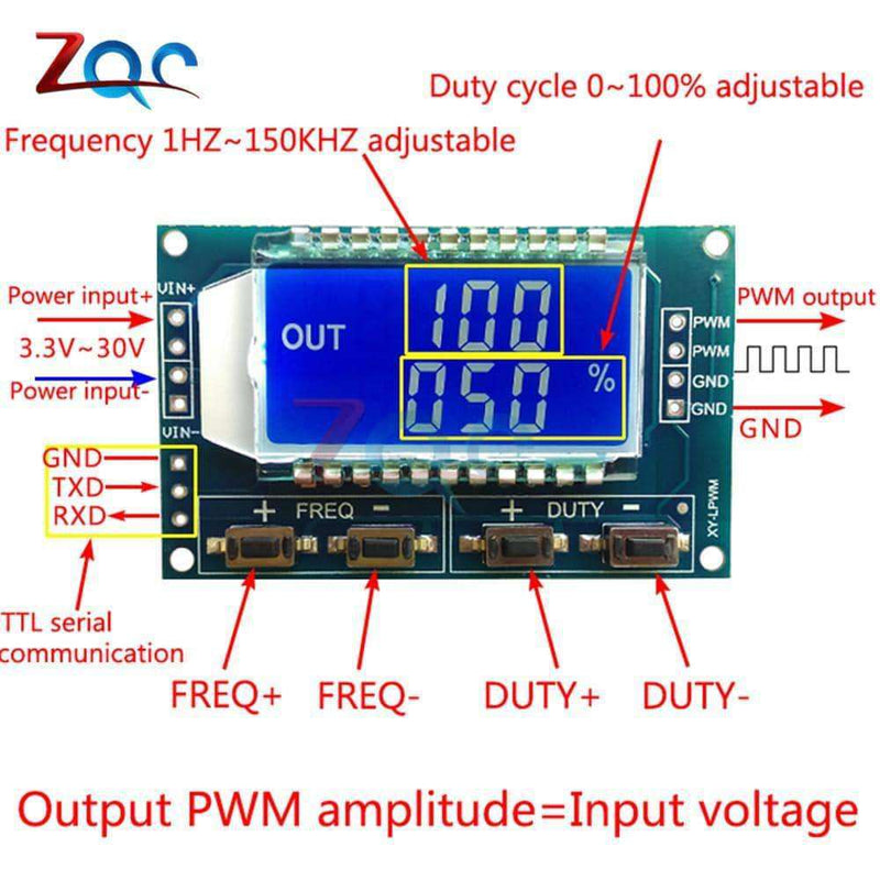 Signal Generator PWM Pulse Frequency Duty Cycle Adjustable Module LCD Display 1Hz-150Khz 3.3V-30V PWM Board Module,tools electronics,Uunoshopping