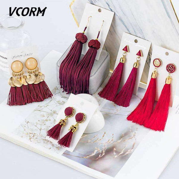 VCORM Bohemian Tassel Crystal Long Drop Earrings,Earrings,Uunoshopping