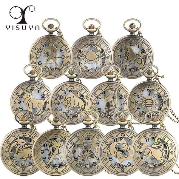 Vintage Zodiac Pattern Pocket Watch,Clock,Uunoshopping