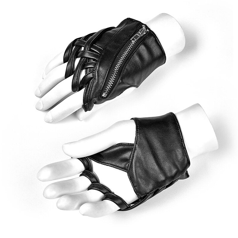 PUNK RAVE Women's Cross Gloves Pu Leather Elastic Jersey Metal Zipper Handsome Fingerless Black Locomotive Gloves