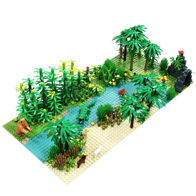 Legoingly Rainforest Animal Grass Tree Building Blocks Set with Baseplate City MOC Accessories Parts Bricks DIY Kids Toys Gifts (White)