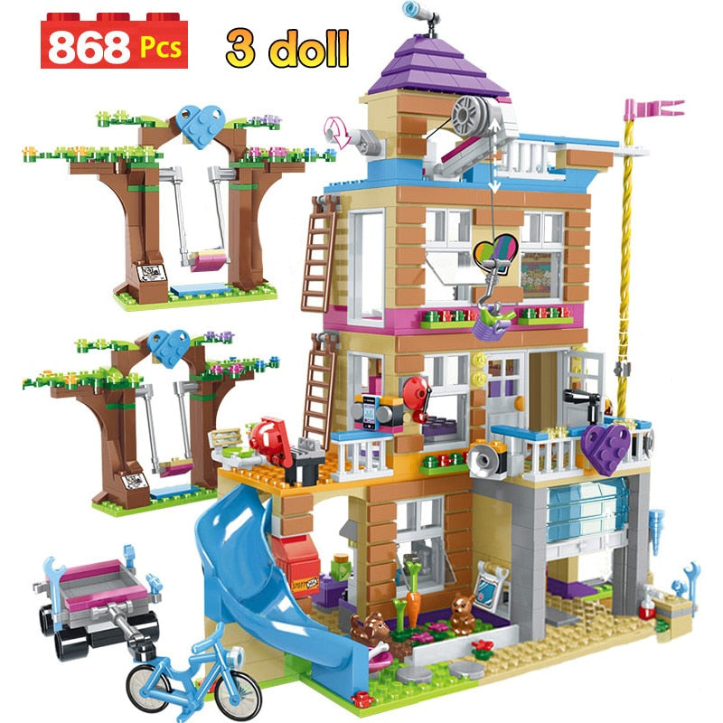 868pcs Building Blocks Friendship House Stacking Bricks Compatible Legoinglys Girls Friends Kids Toys for Girls Children (with Figures)