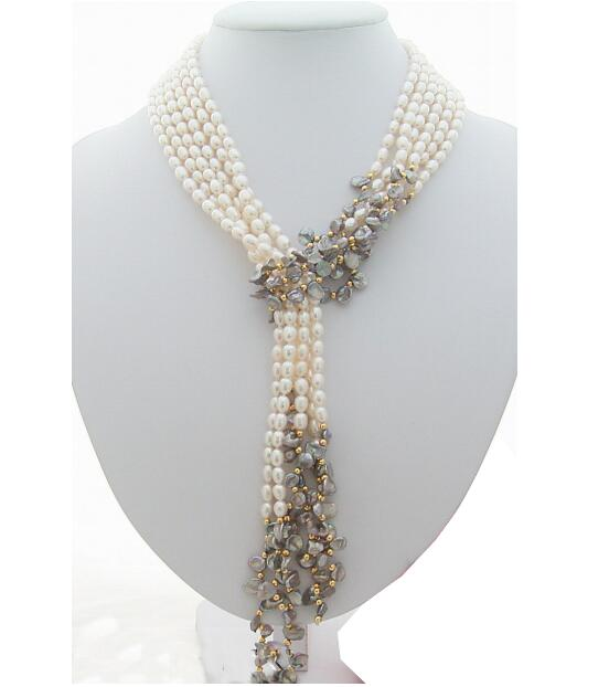"Jewelry Pearl Necklace Wholesale price new hot sell 3Strds 49"" White&Grey Keshi Pearl Necklace shipping free Free Shipping"