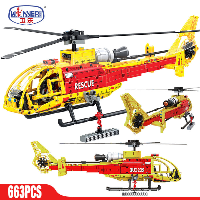 663PCS City Police Airplane Building Blocks Legoingly Technic Military Helicopter Airport Brigade Bricks Enlighten Toys for Kids (TB2208)