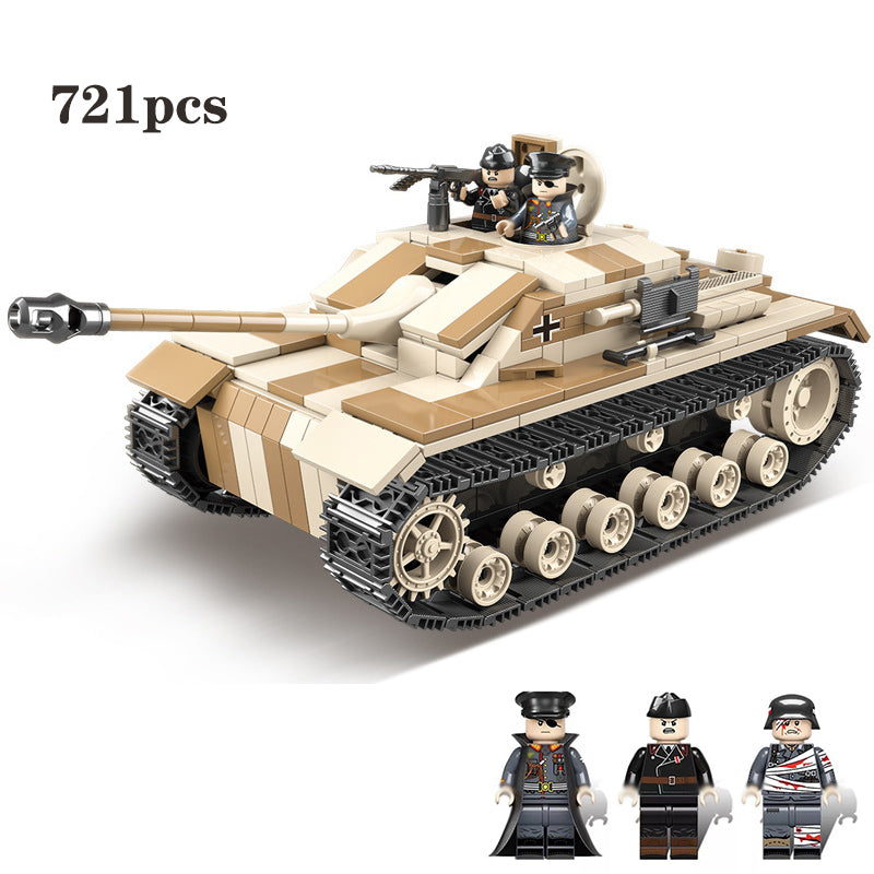 NEW 721PCS Military Germany Tank Building Blocks Legoing Technic Military WW2 Tank Army Soldier Weapon parts Bricks Kids Toy (721pcs)