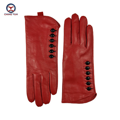 CHING YUN New Women Gloves Genuine Leather Winter Autumn Ladies Fashion Brand High quality goat skin Warm 6 buckle gloves woman