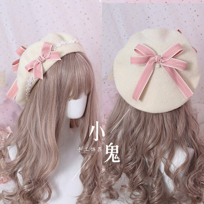 Japanese multicolor beret lolita bow girl sweet and lovely wild woolen female autumn and winter daisy hand made bow bud