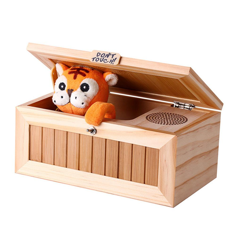 Wooden Electronic Useless Box Cute Tiger Funny Toy Gift for Boy and Kids interactive toys Stress-Reduction Desk Decoration (as show)