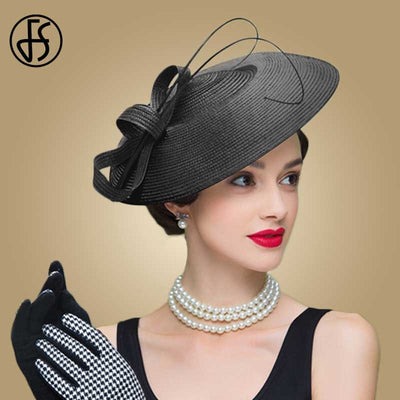 FS Fascinators Black And White Weddings Pillbox Hat For Women Straw Fedora Vintage Ladies Church Dress Sinamay Derby Hats