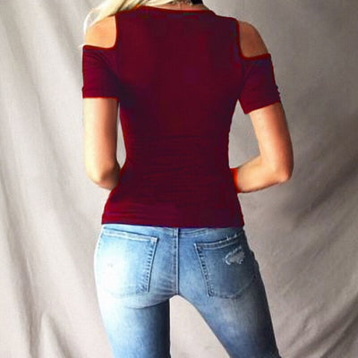 Big Size Short Sleeve Off The Shoulder Solid Slim T-Shirts Plus Size 5X Sexy Bandage Criss-Cross Deep V-neck WomenS Tops Tee