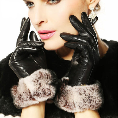 Women Fashion Winter Leather Gloves Wrist Solid Rabbit Hair Real Genuine Lambskin Glove Female Sheepskin Driving EL024NC