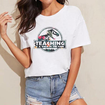 Teaching Is A Walk In The Park T Shirt Women's Teacher T-Shirt Harajuku Graphic Tees Floral Jurassic Park Aesthetic Clothes